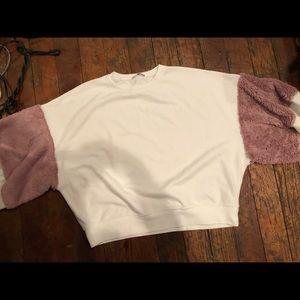 Zara Sweaters - white and pink puffy sleeves zara sweater